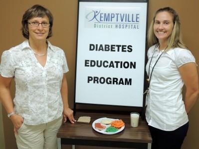 Kemptville District Hospital's Certified Diabetes Educators, Heather Kamenz (left), Registered Nurse, and Julia HIcks, Registered Dietitian