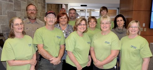 The KDH Green Team. Front row (l to r): Tracy Welsh-Frappier, Leigh Nicholls, Shelley Molson, Lorna Larabie, Manon Purcell. Middle row: Heather Wells-Baker, Anne Marie Johnston, Tammy Buehlow. Back row: Harold Westendorp, Dennis Piche and co-op student Jordan Fleming.